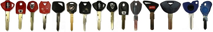 Motorbike keys with a chip